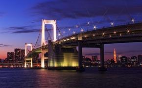 Картинка небо, облака, закат, мост, огни, здания, башня, дома, вечер, Япония, освещение, Токио, фонари, залив, Tokyo, ...