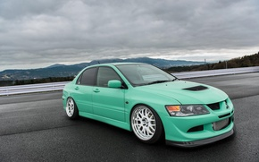 Картинка green, turbo, white, wheels, mitsubishi, japan, jdm, tuning, lancer, evolution, evo, front, face, low, stance