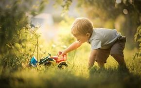 Картинка игрушка, игра, бульдозер, мальчик