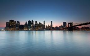 Картинка Нью-Йорк, горизонт, Бруклинский мост, река Гудзон