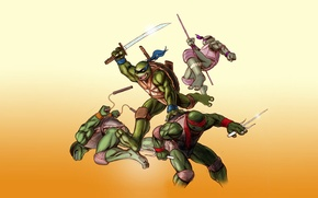 Картинка Рафаэль, TMNT, Raphael, Leonardo, Donatello, Донателло, Леонардо, Микеланджело, Teenage Mutant Ninja Turtles, Michelangelo, Черепашки ниндзя