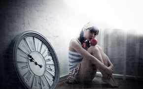 Картинка часы, яблоко, обработка, ножки, восточная девушка
