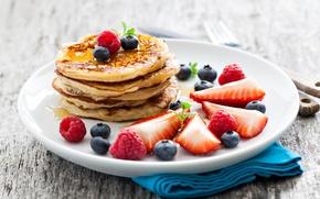 Картинка ягоды, малина, еда, черника, клубника, мед, тарелка, мёд, блины, блинчики, оладьи