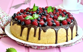 Обои ягоды, малина, шоколад, черника, мята, кекс