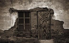 Картинка дверь, окно, разное, старый дом, ветхая стена