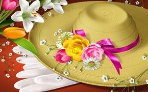 Картинка цветы, шляпа, перчатки