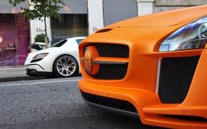Картинка белый, оранжевый, тюнинг, Mercedes, Design, SLS, tuning, orange, double, FAB, white мерседес
