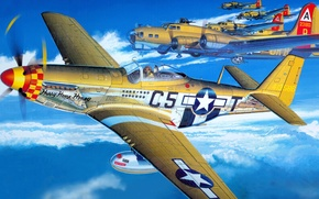Картинка рисунок, Mustang, арт, North American, B-17, P-51D
