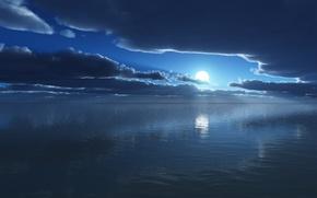 Картинка море, небо, облака, ночь, отражение, луна