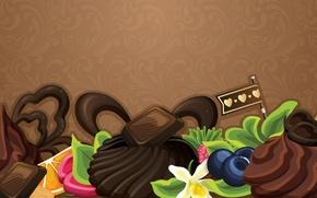 Обои абстракция, ягоды, сладость, шоколад, пирожное, фрукты, chocolate, abstraction, fruits, cakes, sweets, berries