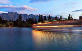 Картинка вода, свет, горы, лодки, вечер, выдержка, Новая Зеландия, Квинстаун