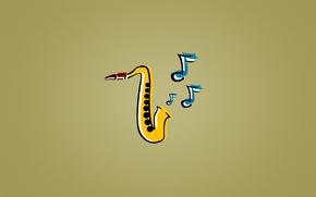 Картинка синий, желтый, ноты, музыка, джаз, Саксофон, jazz, saxophone, Sax