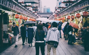 Картинка Tokyo, Japan, people, cityscape, market, rainy, everyday life, urban scene