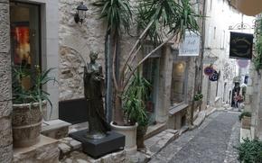 Картинка цветы, Франция, скульптура, улочка, Лазурный берег, Сен-Поль-де-Ванс