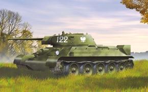 Картинка танк, рыжик, Советский, экипаж, средний, Т-34-76, WW2., тридцатьчетверка, образца, польский, 1942г
