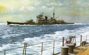 Картинка флот, корабль, арт, японский, WW2, военный, cruiser, крейсер, Haguno, IJN