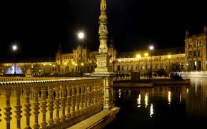 Картинка ночь, огни, Испания, Севилья, Seville, Площадь Испании, Plaza de Espana