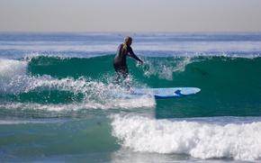 Обои доска для серфинга, пеликаны, горизонт, экстремальный спорт, брызги, серфер, Longboard, волны, всплеск, небо, серфинг