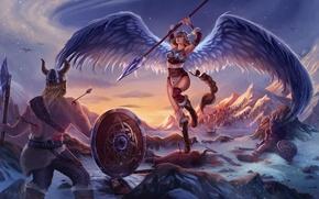 Картинка горы, крылья, воин, арт, копье, битва, стрелы, валькирия, викинг, раны? снег