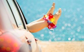 Обои песок, car, машина, цветок, девушка, радость, цветы, фон, widescreen, обои, ноги, настроения, размытие, красиво, wallpaper, ...