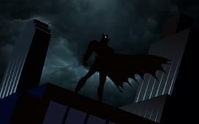 Картинка небо, облака, ночь, тучи, batman, бетмен, рисунок, здания, бэтмен, силуэт, плащ, комиксы