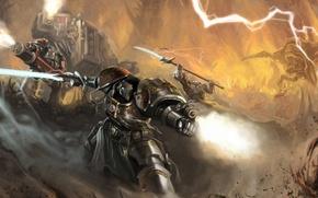 Картинка оружие, молнии, робот, меч, арт, Okita, warhammer 40k, space marines
