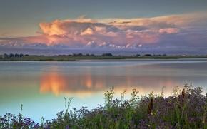Картинка небо, облака, пейзаж, озеро, красота