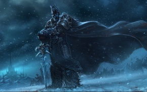 Картинка снег, замок, ветер, меч, армия, воин, арт, World of Warcraft, плащ, arthas, Chao Yuan Xu