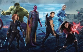 Картинка Scarlett Johansson, Vision, Heroes, Hulk, the, Iron Man, Captain America, Super, Thor, Black Widow, Robert ...