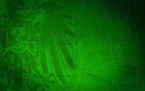 Обои зеленый, фон, орел, герб