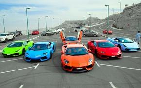 Картинка Lamborghini, парковка, Gallardo, суперкары, Aventador, Huracan