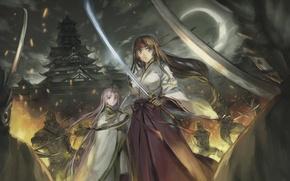 Картинка девушка, оружие, огонь, луна, катана, сражение, Queen`s blade, томоэ, воин храма