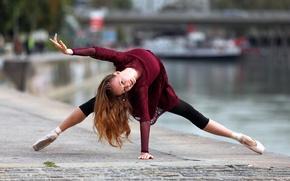 Обои поза, балерина, настроение, набережная, Anastasiya, танец