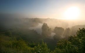 Картинка лето, туман, река, утро, луг