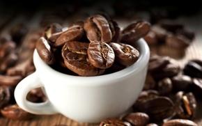 Картинка макро, фон, кофе, зерна, чашка, белая