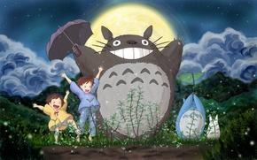 Картинка лес, небо, трава, облака, луна, Тоторо, Хаяо Миядзаки, Сацуки, Мэй, Мой сосед Тоторо, my neighbor …