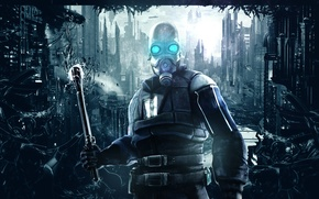 Картинка city, abstract, half-life, soldier, background, half life, valve, mask, video games, combine soldier