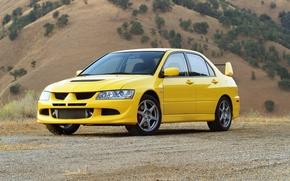 Обои жёлтый, Evolution VIII, Mitsubishi, Lancer, авто, автомобиль, обои