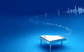 Обои синий, музыка, рояль