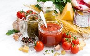 Обои петрушка, перец, помидоры, масло, паста, сыр, спагетти, соус, специи, чеснок