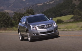 Обои В Движении, Машина, Серый, Авто, Cadillac, День, Дорога, Внедорожник, SRX
