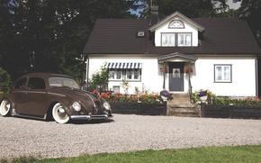 Картинка дом, volkswagen, house, фольксваген, beetle, битл