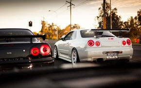 Картинка Ниссан, Nissan, GT-R, Racing, Skyline, 2002, R34, Скайлайн, ГТ-Р, JDM, BNR34, Р34, Volk, V-spec, Rays, ...