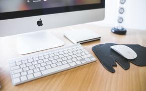 Обои hi-tech, apple, imac, computer, desk