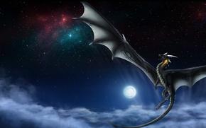 Картинка крылья, дракон, луна, хвост, полет, ночь, небо, фантастика, звезды, облака