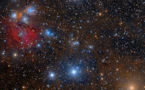Картинка туманность, Единорог, в созвездии, отражающая, NGC2170