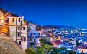 Картинка море, побережье, здания, Италия, панорама, ночной город, Italy, Campania, Amalfi Coast, Salerno, Салерно, Gulf of …