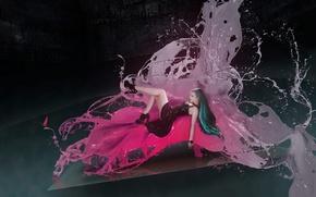 Картинка цветок, девушка, брызги, пространство, бабочка, модель, краска, twiggx