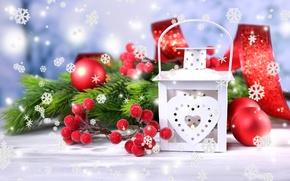 Картинка Новый Год, зима, игрушки, падуб, снежинки, New Year, Christmas, фонарь, ветки, декорации, шарики, ель, праздники, …