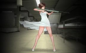 Картинка девушка, ветер, платье, снайпер, прицел, винтовка